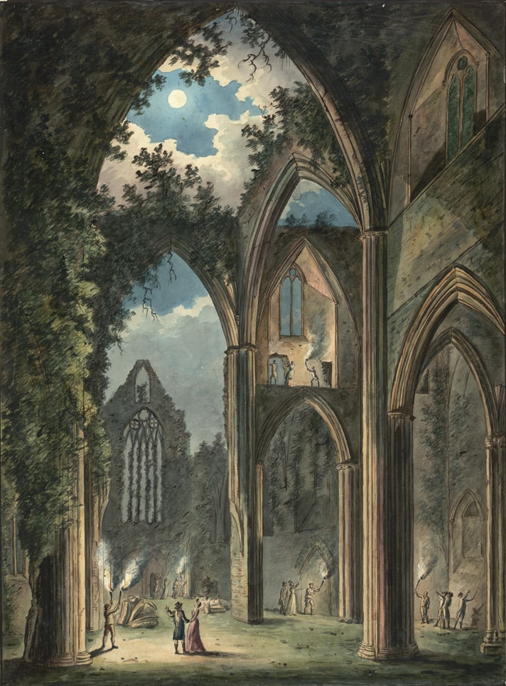 "alt=""painting of Tintern Abbey by Peter Van Lerberghe"""
