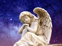 angel in night sky