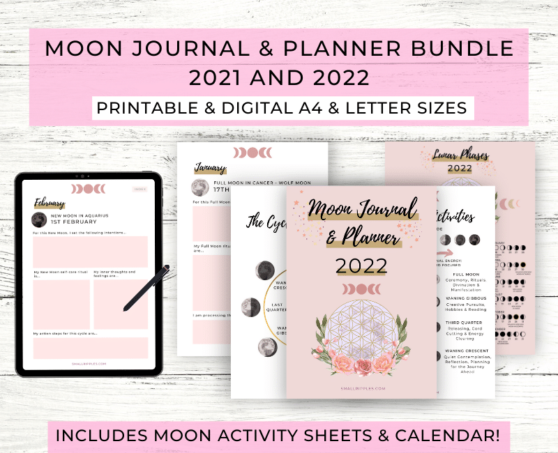 "alt=""moon journal & planner bundle 2022"""